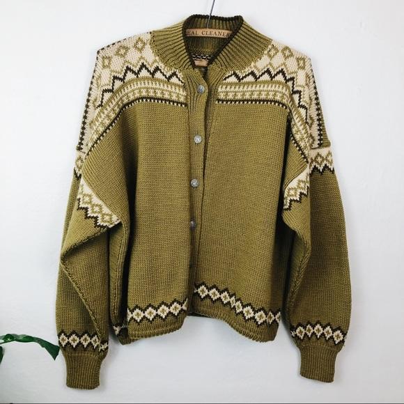 Vintage Sweaters - Vintage • 1950s Fair Isle Wool Cardigan